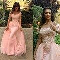 Dubai Árabe Lace Bainha Longos Vestidos de Noite Com vestidos Destacável Train Sexy Apliques vestidos de Noite Vestidos O-neck Mangas Curtas Vestidos Longos