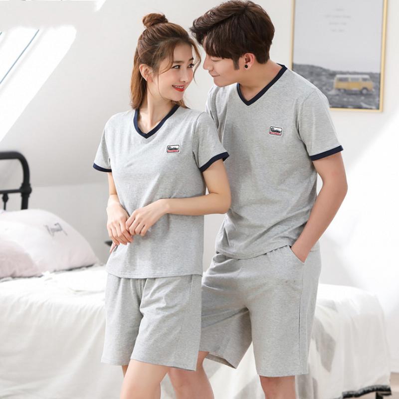 2019 Summer Homewear Men Casual Pajamas Sets Male Short Sleeve V-neck Collar T Shirt & Half Pants Couples Cotton Sleepwear Suit