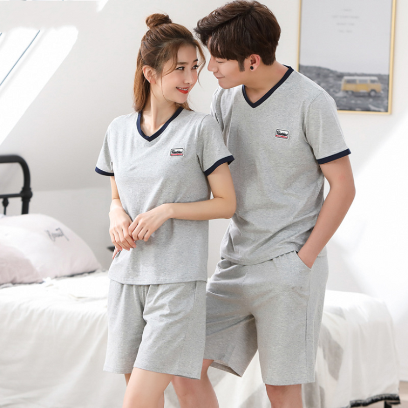 2019 Summer Homewear Men Casual Pajamas Sets Male Short Sleeve V-neck Collar T Shirt & Half Pants Couples Cotton Sleepwear Suit Strong Packing Underwear & Sleepwears