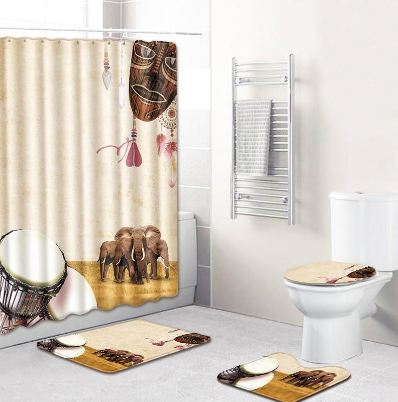 4Pcs//Set Flower Bathroom Shower Curtain Pedestal Rug Lid Toilet Cover Bath Mat