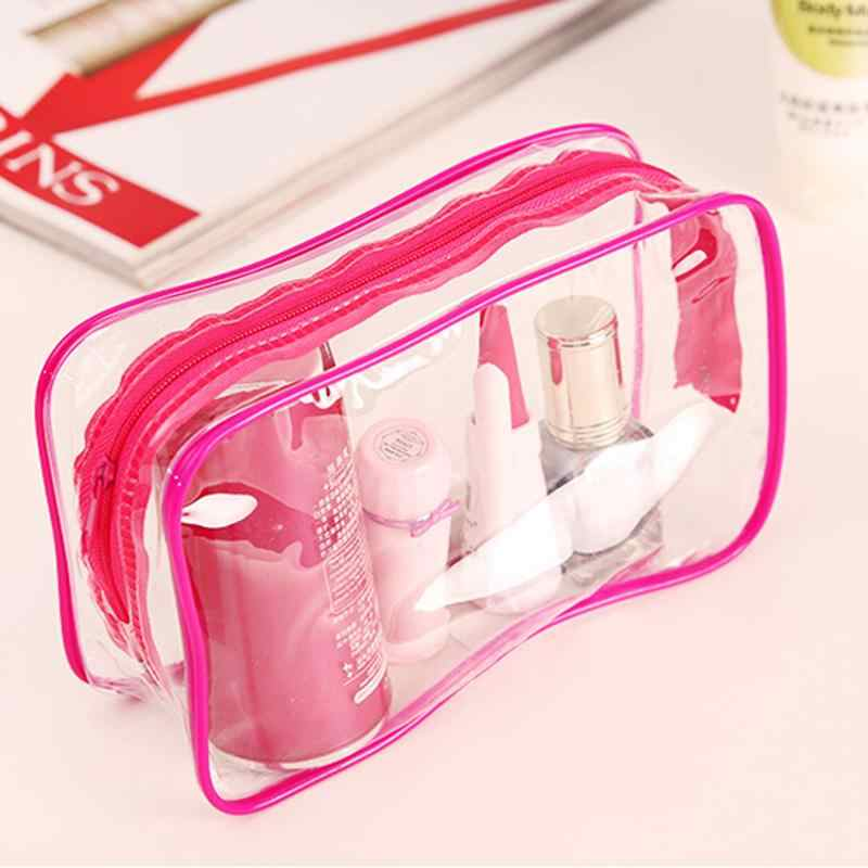 1PC ברור נסיעות איפור קוסמטי תיק 3 צבעים נשים טואלטיקה BagTransparent פלסטיק PVC שקיות טואלטיקה Zip פאוץ 15*7*10.5cm