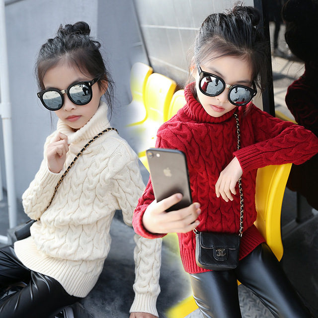 Sweater for Girls High Neck Thick Sweater Cardigan Kids Poloneck Turtleneck Winter Girls Christmas Sweater Pullover Knit Sweater