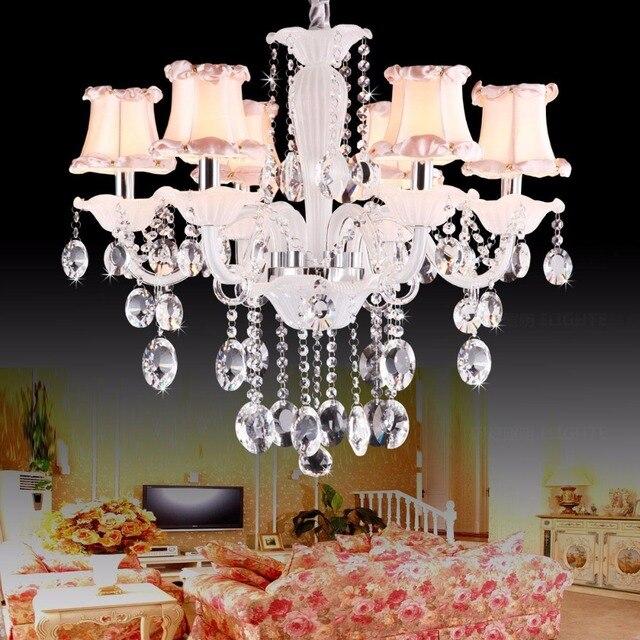 New Modern Blanc Romantique Fille Chambre Rose Abat Jour En Cristal Lustres En Cristal Lustres