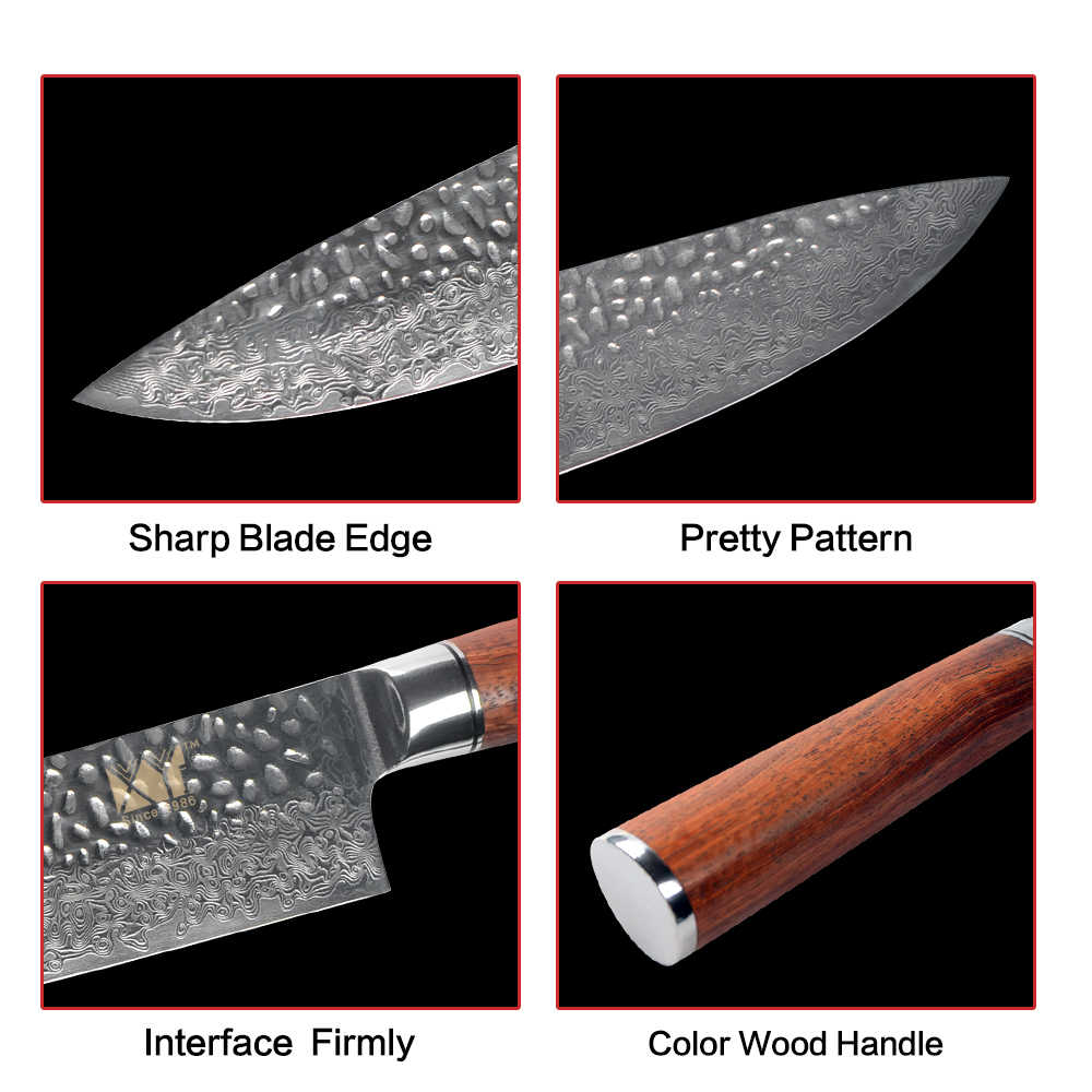 XYj 8 inch Chef Knife Damascus Steel VG10 Blade Japanese Style Color Wood Handle Kitchen Knife Fruit Meat Cooking Accessories
