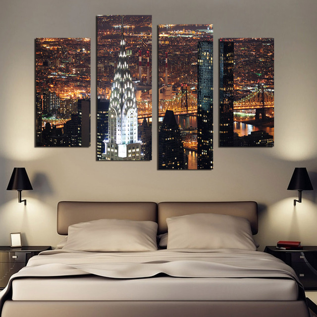 4 Piece Wall Art aliexpress : buy 4 piece wall art new york manhattan usa with