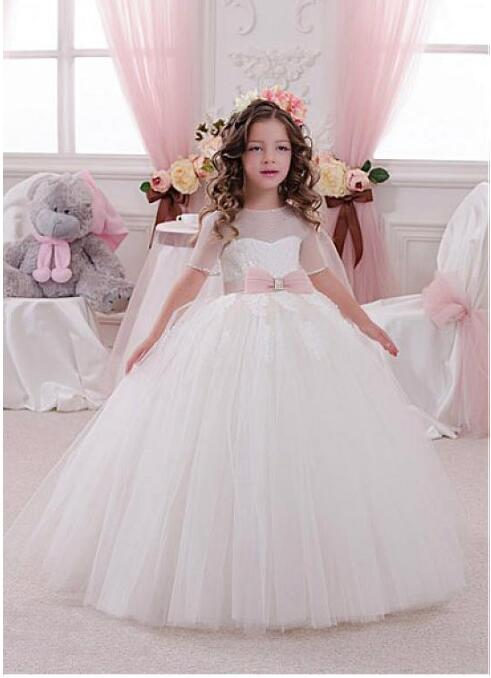 Ivory White 2018 New Lace Dresses for Girls For Wedding Short Sleeves Lace Beaded Applique First Communion Dress Size 2-16Y ladylike applique beaded tank top for women