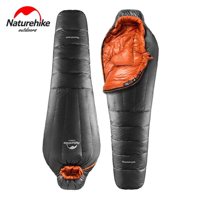 Naturehike pato abajo saco de dormir invierno momia Camping saco de dormir ultraligero mantener caliente adulto equipo de Camping NH17U120-L