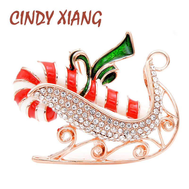 CINDY XIANG 2 Colors Choose Rhinstone Christmas Sled Brooches For Women Festival Party Brooch Pin Enamel Jewelry Good Gift