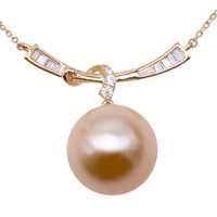 JYX Pearl Necklace 14K Yellow Gold 11.5mm Round Golden South Sea Pearl Pendant Necklace 18 inches