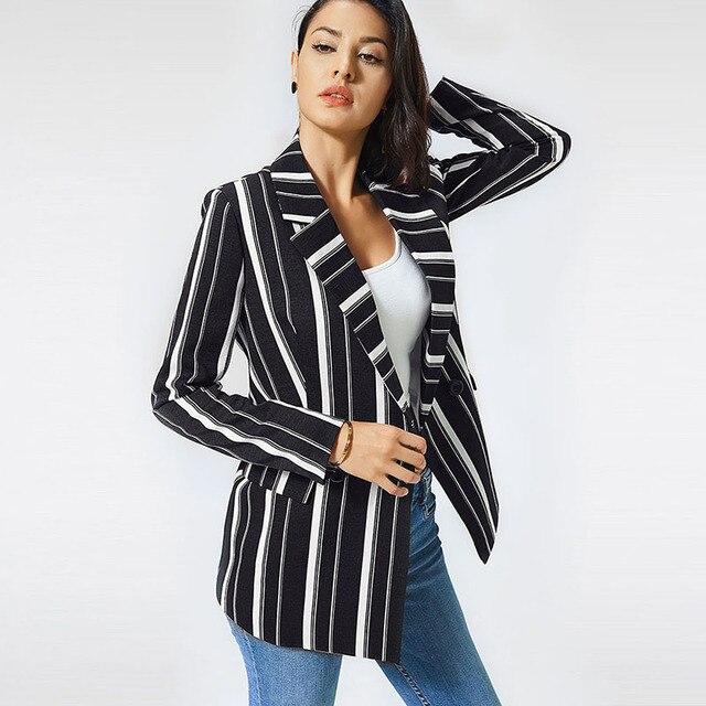 chifave Blazer Women 2018 Striped Jackets Casual Double Breasted Black Long Blazer Women's Spring Autumn Jacket Plus Sizes 5XL  2