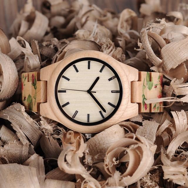 BOBO BIRD WL26 Strong Pine Wood Watches Brand Designer Watch for Men Women New UV Printing Flower Wooden Band Quartz Watch