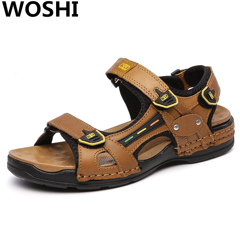 Mode Sommer Top Qualität outdoor sandalen männer Echtem Leder - Herrenschuhe - Foto 1