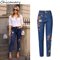 Chicanary Vintage Asymmetry Floral Embroidered Mom Jeans Women Ankle Length Denim Pants