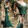 Sexy Verde Esmeralda Vestidos de Baile con Las Mangas Del Casquillo Rebordeó los Cequis de Tulle Prom Vestidos Backless de La Sirena Vestido Formal Vestido de Fiesta 2016