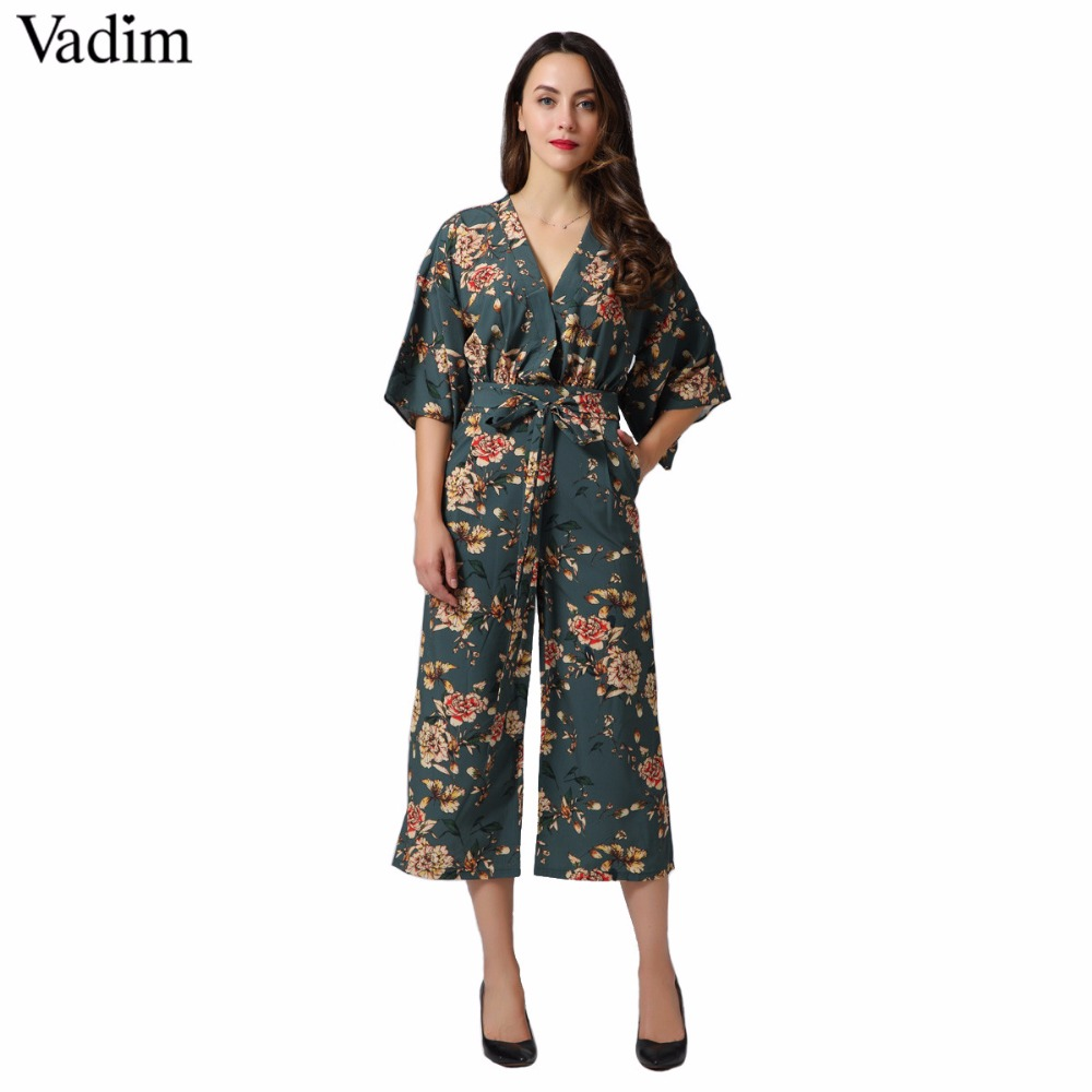 4576760d6ad Vadim vintage floral V neck jumpsuits wide leg pants sashes backless pleated  fashion rompers summer casual