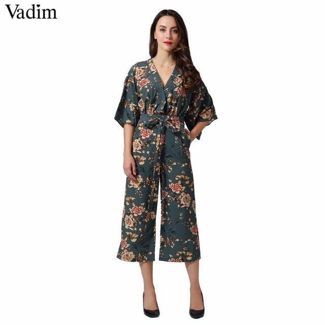 Vadim vintage floral cuello en V monos pantalones de pierna ancha fajas sin espalda falda de moda Pantalones casuales de verano Mujer KZ1035