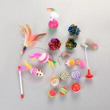16Pcs/Set Pet Supplies Cat  Mouse Ball Kitten Teaser Bell Wand Interactive Funny Toy Set