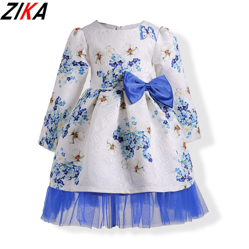 ZIKA Baby Girls Dress New Brand Printing Princess Dress Autumn Style Mesh Flower Long Sleeve  Design For Children Clothes 3-10 aile rabbit girls dress 2017 new summer style fruit pineapple pattern printing design for baby girls dress children clothing