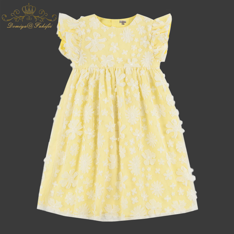 Girls Dress 2018 New Summer Mesh Girls Clothes Yellow Flowers Applique Princess Dress Children Summer Clothes Baby Girls Dresses цены онлайн