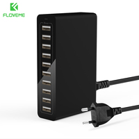 FLOVEME 10 Port USB Phone Charger Travel Universal EU US Plug Cellphone Smart Fast Charging Mobile Wall Charger for iPhone iPad