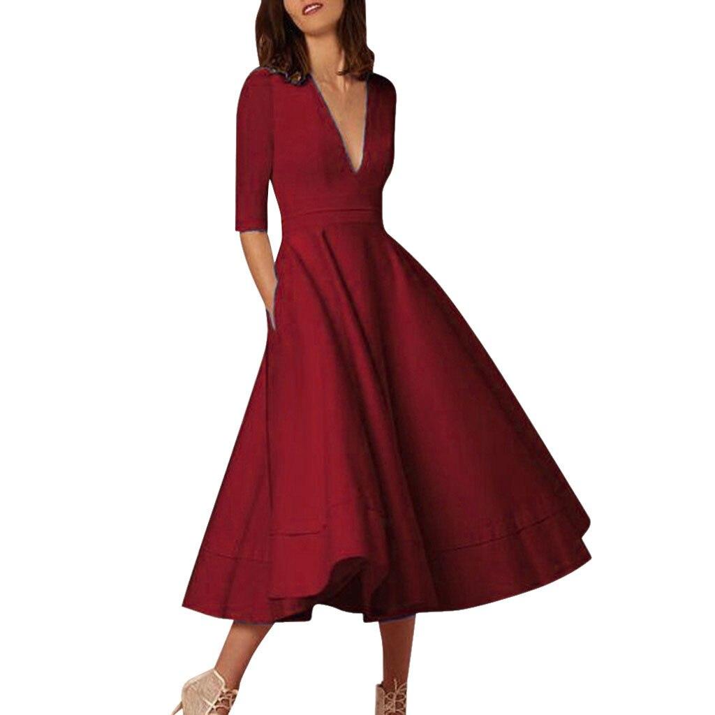 Женские платья с глубоким v-образным вырезом длинное бальное платье для выпускного вечера красное винтажное элегантное женское вечернее св...