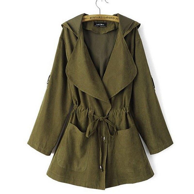 Autumn Women's Casual Hooded Windbreaker Coat Turndown Collar Overcoat Outerwear Coat Solid Color Trench Belt Slim Tops Coat