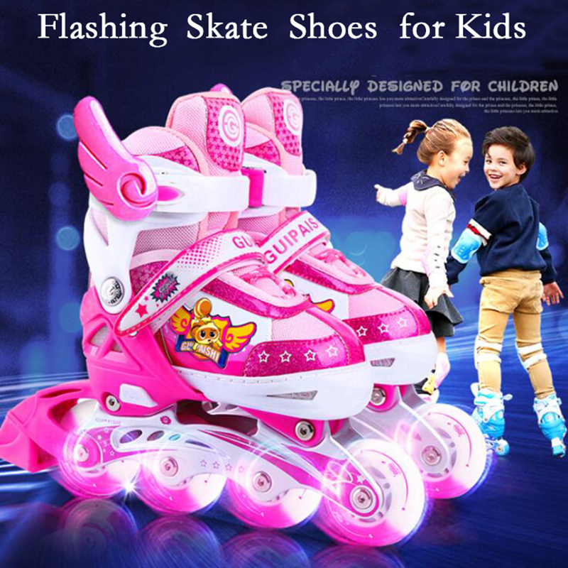 Free Shipping Inline Skates Roller Skate Shoes for Kids Children With Helmet Knee Protector Adjustable Flashing Wheels Patines цена