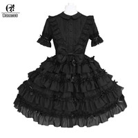 ROLECOS 2018 New Black Lolita Dress For Women Short Sleeve With Bowknot Dress Classical Lolita Party Dress Slim Fit Gifts 2018