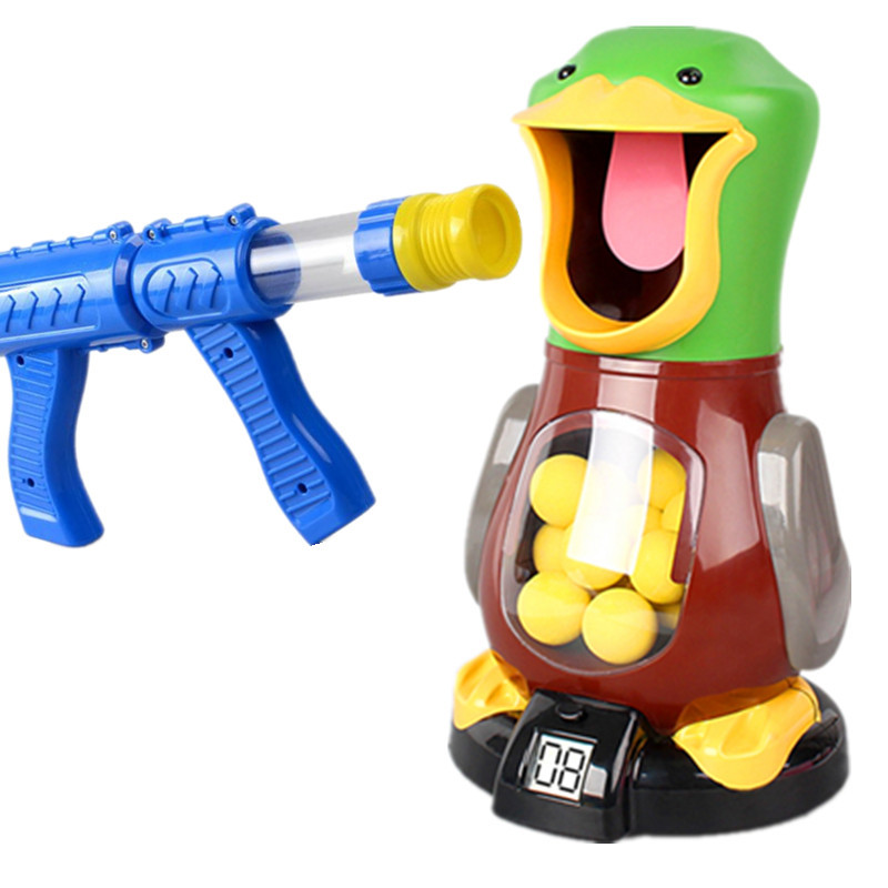Air alimenté garçon enfants sécurité balle molle pistolet enfant jouet jeu électronique cible balle jouet intérieur Hit affamé canard jeu enfants jouet