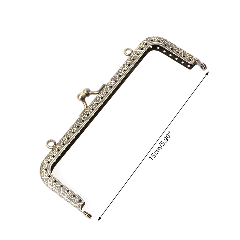 THINKTHENDO 1pc Useful Metal Frame Kiss Clasp For Handle Bag Purse DIY Accessories 15cm