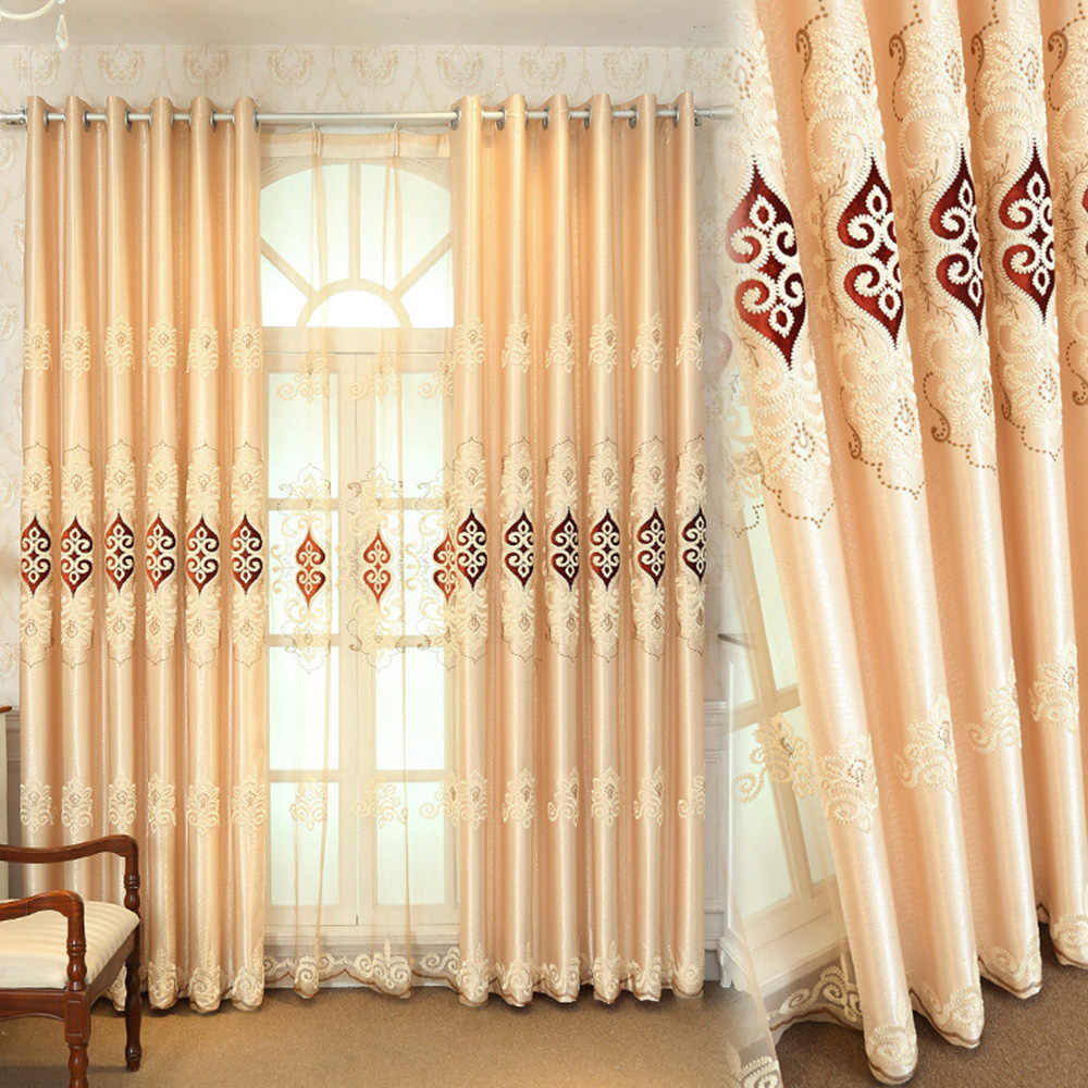 Simple Jacquard Fabric Love Embroidery Blackout Curtain European Tulle Curtains Bedroom Living Room Bay Window Home Decor M038-4