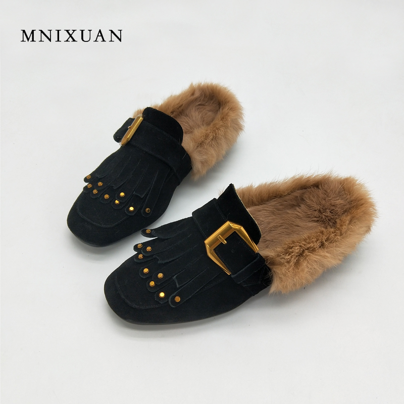 MNIXUAN Mules shoes women 2017 autumn winter new handmade genuine leather square toe slip on heels 3cm rabbit hair big size34-43 mnixuan mules shoes women 2017 new genuine leather slip on ladies warm fur winter flats rabbit embroidered butterfly casual flat