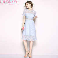 LUKAXSIKAX FASHION 2019 New Women Summer Dress High Quality Sky Blue Hollow Out Lace Runway Dress Luxury Party Dresses