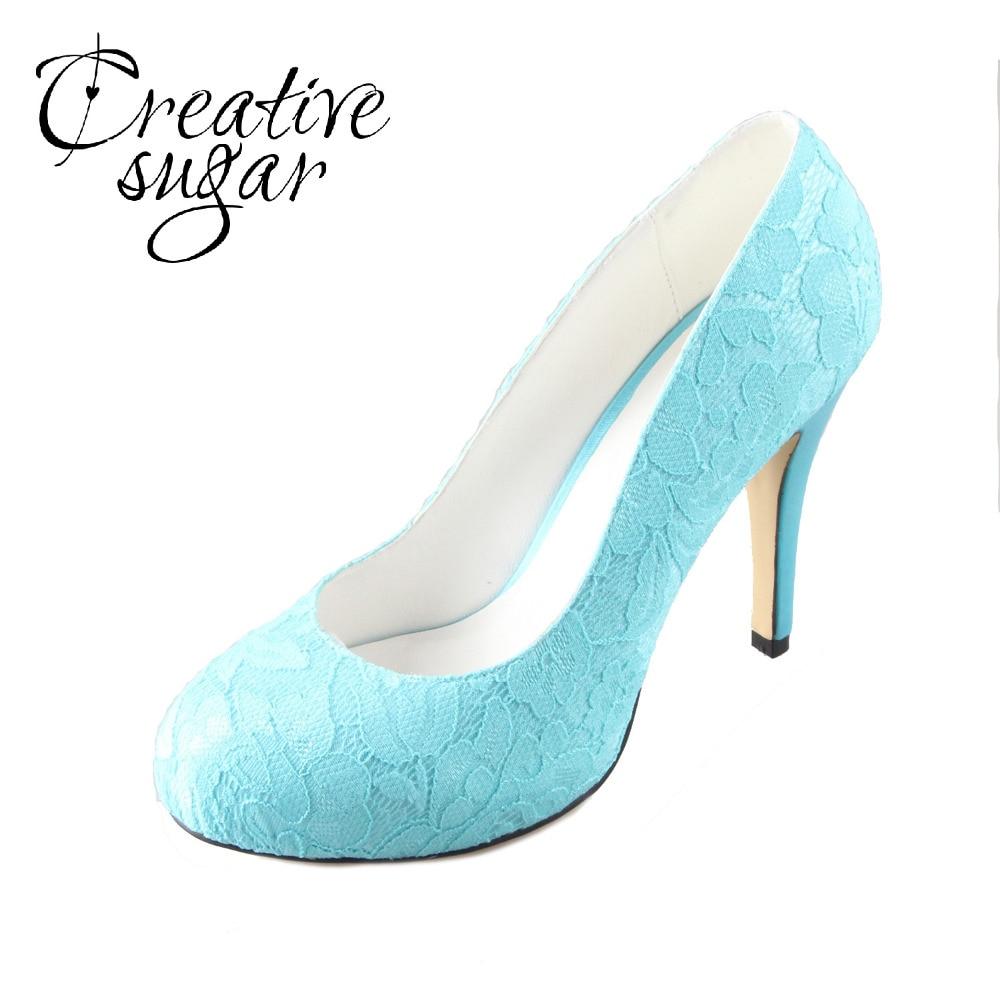 Creativesugar Turquoise aqua lake blue lace shoes wedding evening dress closed toe pumps handmade custom color white big size
