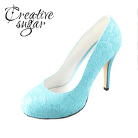 Turquoise Aqua Lake Blue Lace Shoes Wedding Evening Party Rounded Toe Pumps Green Blue Handmade Custom