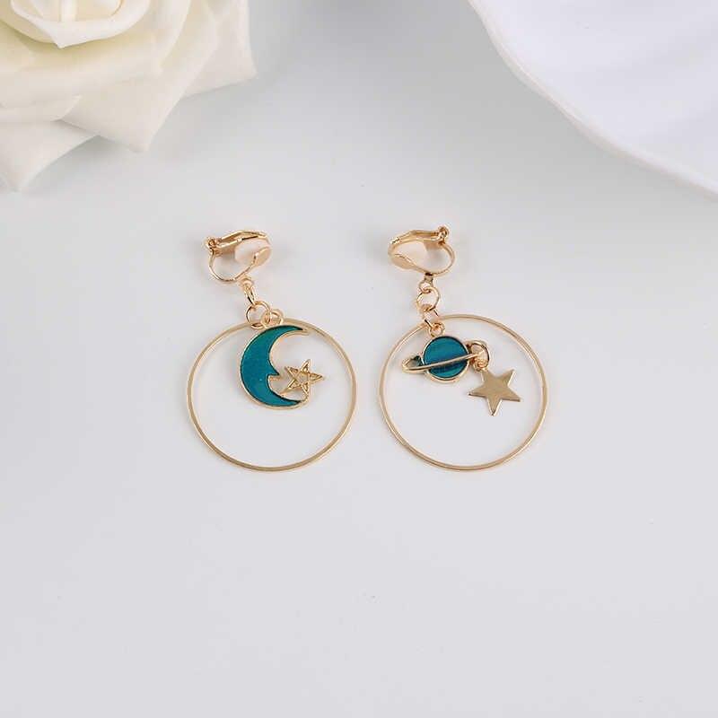 Korea Style Asymmetrical Fresh Enamel blue Star Moon Planet  Circle Clip on Earrings Non Pierced For Girl Women Party Gift
