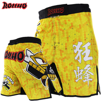 MMA yellow boxing motion picture cotton loose size training kickboxing shorts muay thai shorts cheap mma shorts boxeo