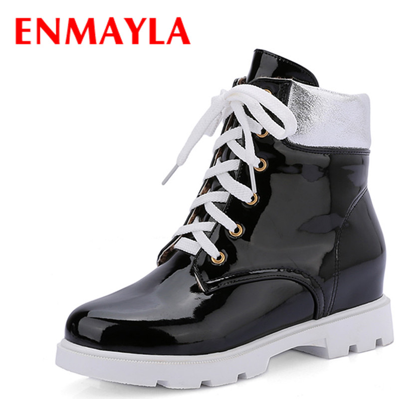 ENMAYLA White Shoes Woman High Heels Round Toe Lace-up Fashion Boots Platform Casual Shoes Ankle Boots for Women Size34-43 enmayla ankle boots for women low heels autumn and winter boots shoes woman large size 34 43 round toe motorcycle boots