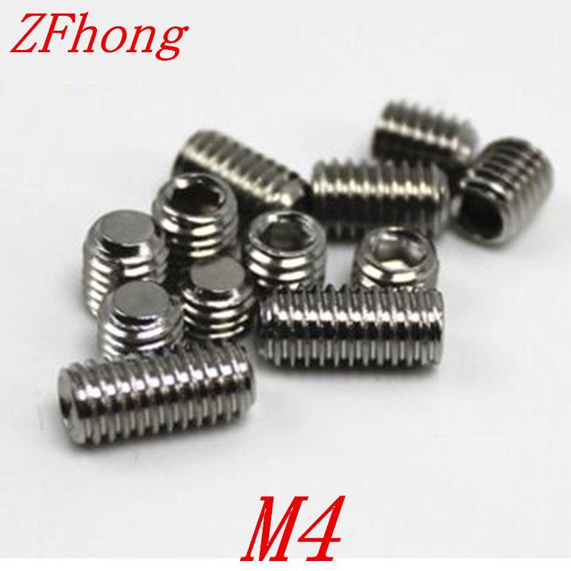 200PCS DIN913 <font><b>M4</b></font>*4/5/6/8/10/12/16/20/25/<font><b>30</b></font> <font><b>m4</b></font> Stainless steel flat end point hex socket set grub screw image