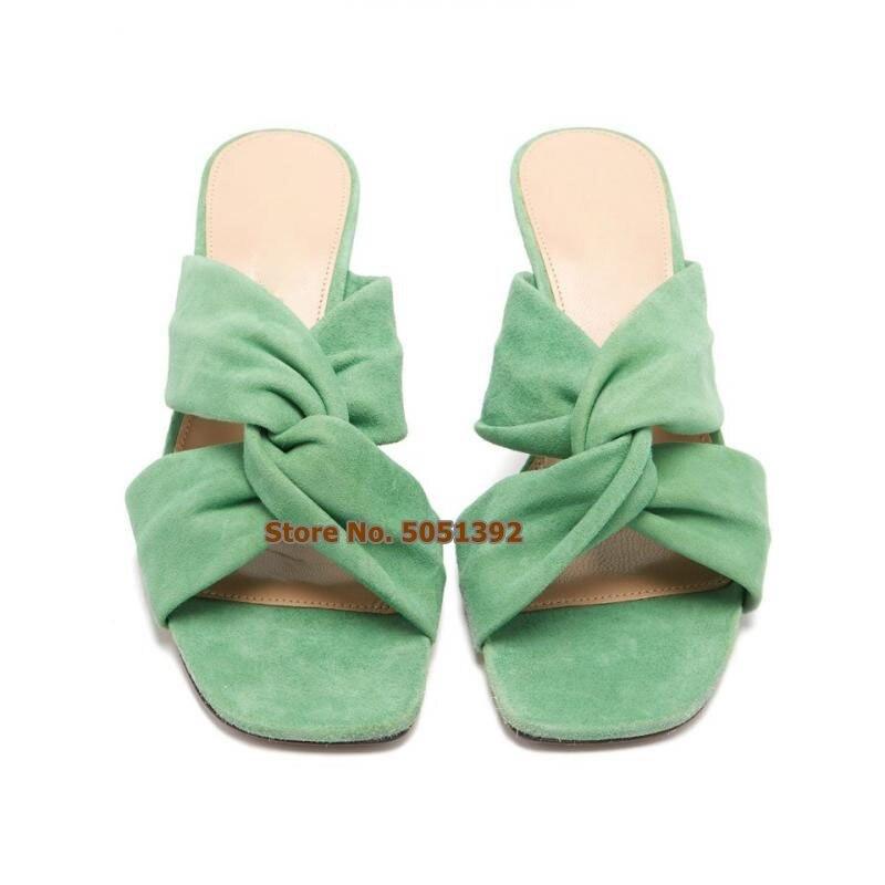 Femmes talon Chunky talon Peep Toe daim pantoufles été talon carré croix tongs sandales loisirs chaussures