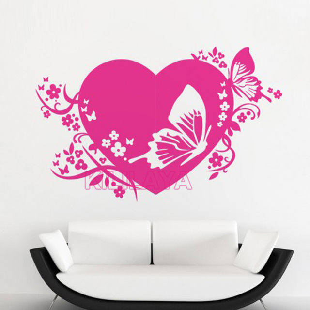 butterflies love heart mural vinyl wall sticker wallpaper for living