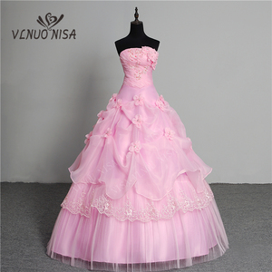 Image 1 - 3 צבע פרחים חדש 2020 קוריאני סגנון מתוק Stapless נסיכת חתונה שמלה בתוספת גודל ורוד רטרו לוטוס כלה שמלת Vestidos דה