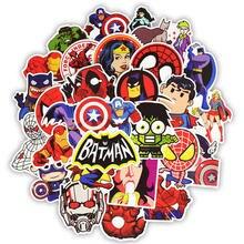 50 sztuk superbohater Marvel naklejki filmy postać naklejka ozdobna dla DIY Skateboard bagaż motocyklowy Laptop Cartoon naklejki zestawy