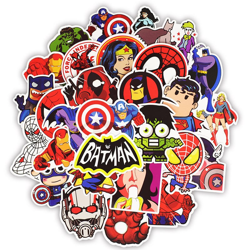 50pcs Super Hero Marvel Stickers Movies Character Deco Sticker For DIY Skateboard Motorcycle Luggage Laptop Cartoon Sticker Sets-in Laptop Skins from Computer & Office