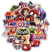 Autocollants déco Super héros 50pcs, étiquette Marvel personnages, pour les films, pour Skateboard, moto, bagages, ordinateur portable, dessin animé, bricolage