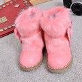 Новый стиль сапог для девочек на зиму 2016г. В корейском стиле детские короткие сапоги из меха зайца Тёплые и нескользящие зимние сапоги Для дошкольных девочек и девочек-подростков