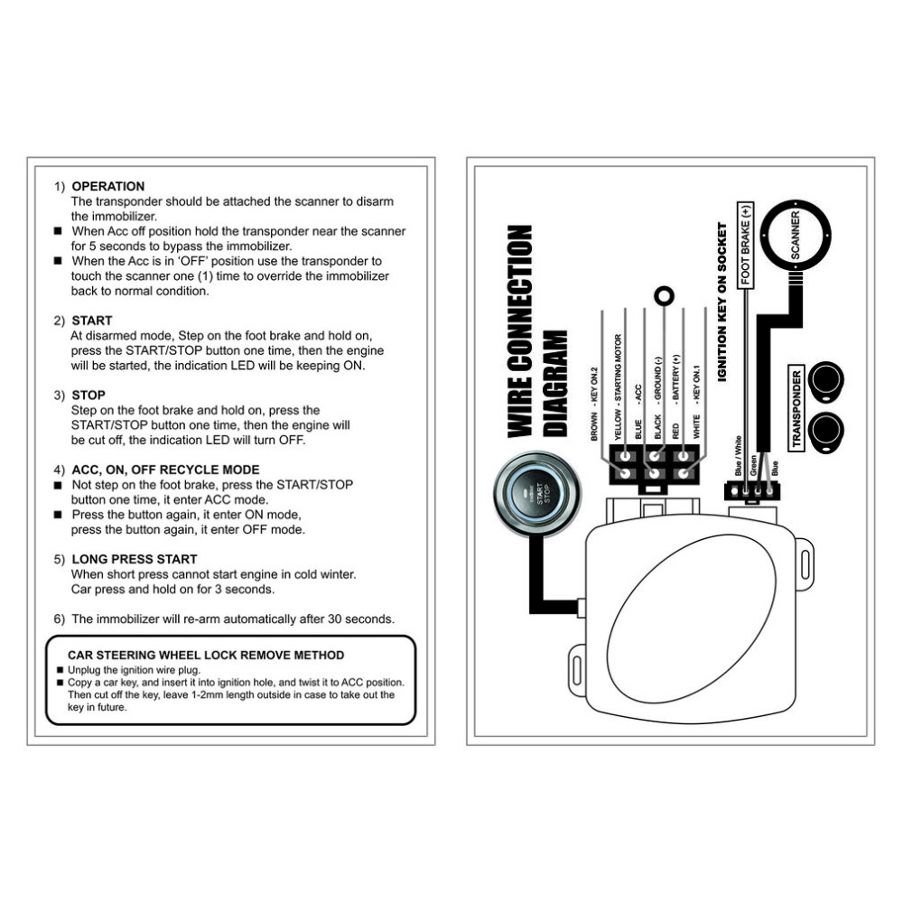 hight resolution of 1 x car engine push starter host 1 x push start stop button 1 x rfid sensor ring 2 x rfid key 1 x installation wire 1 x user manual