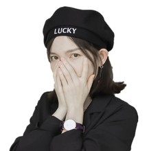 Letter Beret For Embroidery Woman Japanese Buckle Painter Hats Adjust Fashion Tide