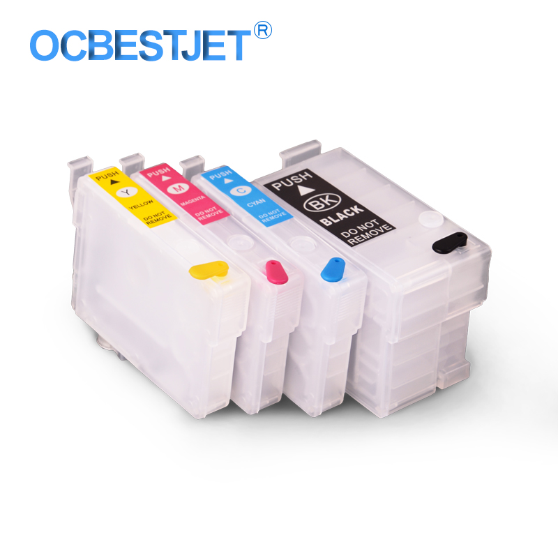 4 Colors/Set T1881-T1884 Refillable Ink Cartridge For Epson WorkForce WF3641 WF-3641 WF7111 WF-7111 WF7621 WF-7621 Printer