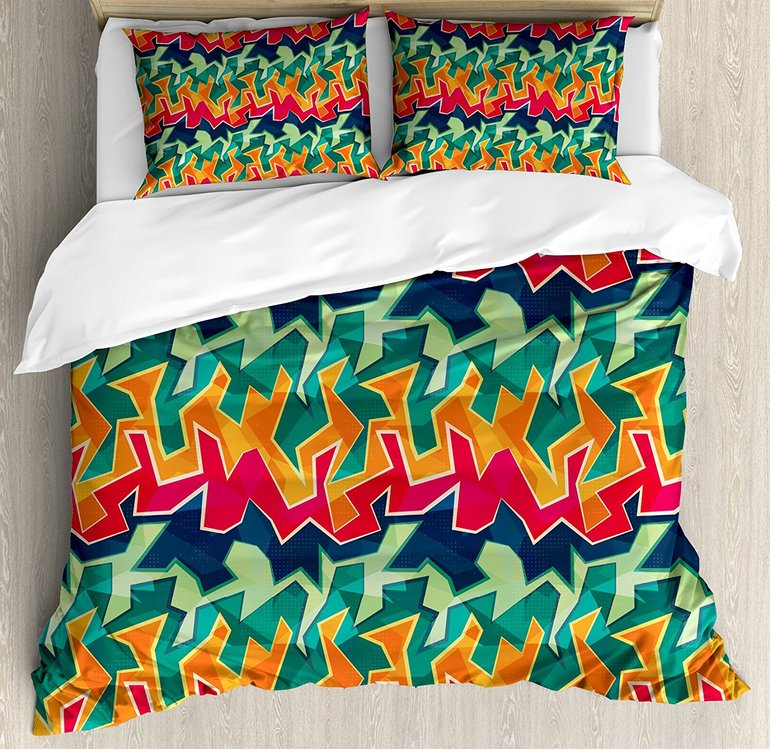 Grunge Duvet Cover Set Colorful Graffiti Inspired Pattern Cool Crazy Funky Display Urban City Street Art Decorative Bedding In Sets From Home